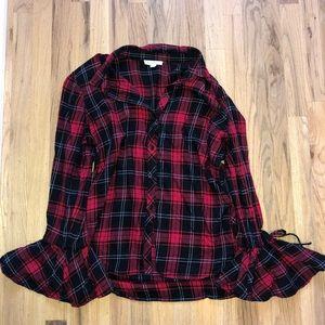 Bell sleeved plaid shirt